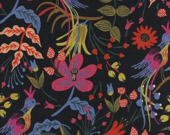 Rifle Paper Co. Fabric Canvas Folk Birds in Black Fabric Modern Les Fleurs Collection Cotton + Steel Black Floral Fabric Anna Bond