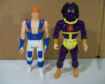 Lot of 2 Vintage Chuck Norris Karate Kommandos Action Figures, Super Ninja Warrior 1986 Ruby Spears