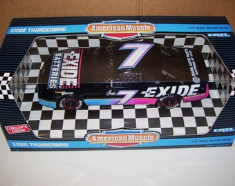 Vintage Ertl American Muscle #7 Exide Geoff Bodine Thunderbird Diecast 1/18 Scale Car, Collector Edition 1995