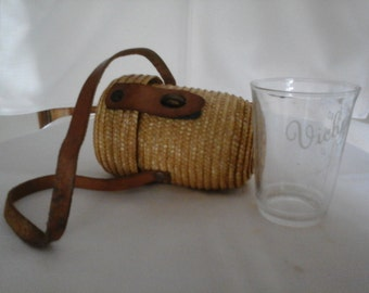 Vintage Vichy Glass Water Measure with Wicker Carrier. Collectors item. Souvenir.
