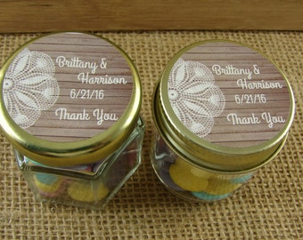 Personalized Mini Favor Jars - Wood and Lace Design - 2 Jar Styles - Your Choice