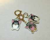 Vintage Furby Charm Stitch Marker and Progress Keepers (3)