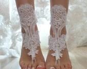 ByVivienne Original Design // Free Ship White  wedding barefoot sandals,  Beach wedding barefoot sandals,
