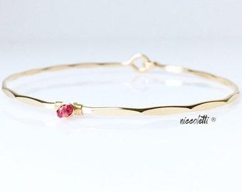Genuine Pink Sapphire Bangle Bracelet / September Birthstone Jewelry / Mothers Jewelry / New Mom Push Gift / Hook and Eye Bangle / Hinged