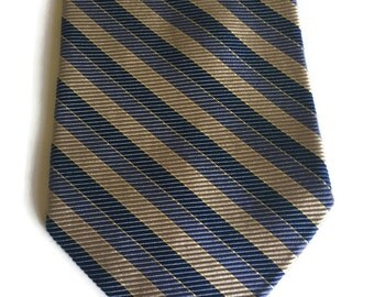 Vintage 90s Brooks Brothers Tie Blue Diagonal Striped Blue Light Gold Silk Tie Made in USA woven in England