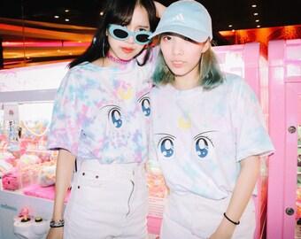 Moon Crystal Power Makeup Hand-Dyed Tshirt