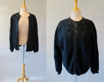 Black Beaded and Sequined Wool Cardigan