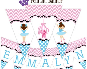 Pennant Ballerina Banner - Pink Chevron, Blue Polka Dots, Girl Ballet Dancer Personalized Birthday Party Banner - A Digital Printable File