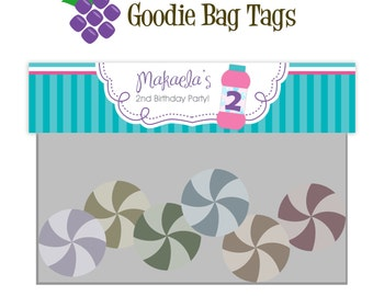Bubble Treat Bag Tag - Turquoise Stripe, Purple Polka Dot, Bubble Personalized Birthday Party Double Sided Goodie Bag Label - Printable File