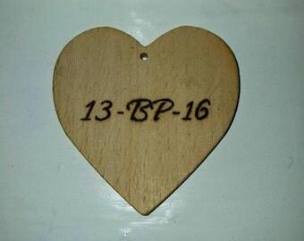 1x Wooden Heart Engraved, Еco friendly, Wedding supplies