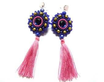 Bead embroidered earrings - Nadzieja
