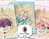 75% OFF SALE SHABBY Tea Cups Digital Collage Sheet Digital Tags set of 8 Digital Collage Instant Download