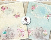75% OFF SALE Digital Collage Sheet TEA and Cupcakes Digital Cards Set of 4 5x7 inches Shabby Tea TIme cards  Instant Download