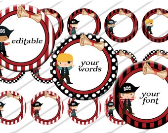 Editable Pirate Boy  Bottle Cap Images, 1 inch circle image sheet, Digital Collage Sheet, INSTANT DOWNLOAD  Printable, Cupcake Toppers
