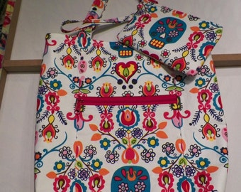Day of The Dead Tote Bag and Matching Wristlet Set