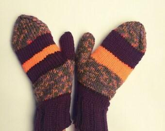 Knit gloves mittens striped purple orange