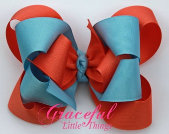 Coral and light blue Triple Layer bow