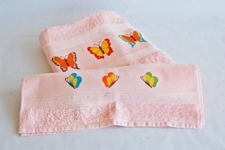 Coppia di asciugamani rosa chiaro in spugna di LinkedByAthread