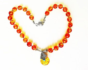 Golden Resin Amber bead necklace with reversible pendant.  Tibetan style, boho, turquoise and coral silver magnetic clasp