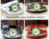 Black leather wristwatch watch vintage or personalize your bracelet