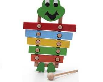 Handcrafted wooden frog xylophone, natural, organic wooden toys for kids