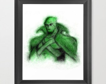 Martian Manhunter INSTANT DOWNLOAD, DC comics, digital art, Justice League, kids, children, gift, downloadable art