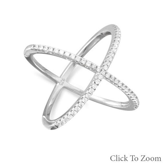sterling silver criss cross x ring cz s