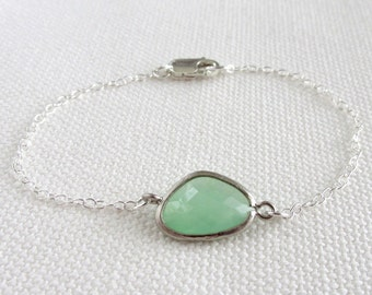 Mint Green Bracelet, Sterling Silver Bracelet, Pastel Glass Crystal Stone Bezel, Dainty Jewelry, Minimalist