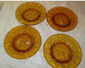 End of Summer Sale Vintage 1980s Tiara Nursery Rhyme Plates Set of 4 in Amber Gold