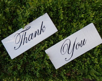 Thank You Wedding Wooden Signs Photo Prop Handcrafted