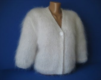 SALE !!! Ready to Ship New Hand Knitted Mohair Sweater Bolero Shrug size L White