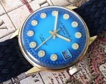 Vintage Wrist Watch, LaMarque Men's Watch, Brilliant Blue Dial, Date Window, Round Hour Markers, Gold Plate Bezel, Mod 1969s Styling, 17j