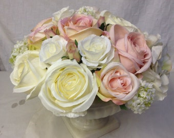 Artificial Silks Pinks Creams Whites Roses Vintage Urn Arrangement Shabby Chic