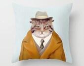 Detective Cat THROW PILLOW, Cat Pillow, Cat Cushion