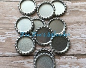 "Flattened bottlecaps Silver metallic-DIY hairbow center -* 25 mm 1""  Flattened bottle cap- * additional quantities available"