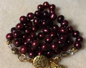 6MM Pearl Necklace Beautiful Cranberry Freshwater Cultured Pearls With Gold Findings And Swarovski AB Crystal Beads!!