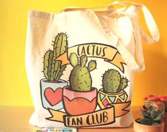 SALE! Cactus fan club, illustrated Cotton Tote Bag/Shopping Bag