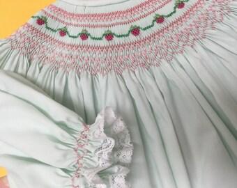 Adorable Bishop Handsmocked Strawberry Dress