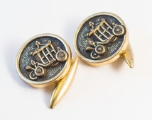 Antique Cufflinks: Carriage or Coach Cuff Links  (Gold, Chain Style) Cinderella, Victorian, Winter Formal Wedding For Him, 1920s