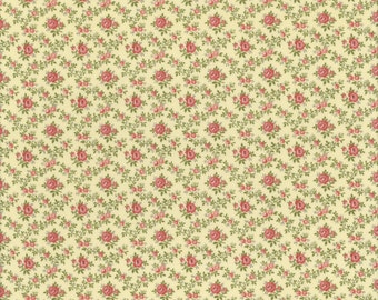 Roses on Light Yellow - Aubrey Collection - Clothworks TY1349-8 (sold by the 1/2 yard)