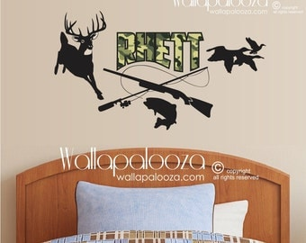 Hunting and Fishing Wall Decal - Kids Wall Decal - Nursery Wall Decal - Boys Wall Decal