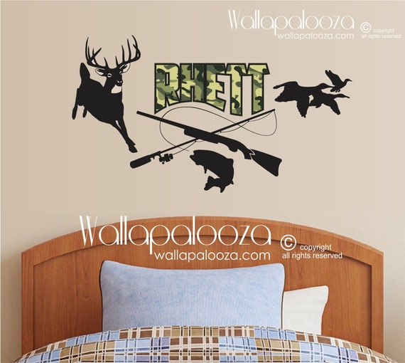 Hunting and fishing wall decal kids wall decal nursery for Hunting and fishing decals