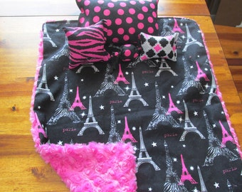 "Black and Pink 18"" Doll Bedding,Paris Design Doll Linen"