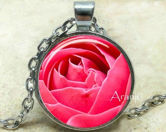 Pink rose necklace, pink rose pendant, bright pink rose, pink, rose pendant, mom gift, pink flower, pendant #PL203P
