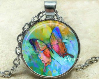 Butterfly art pendant, butterfly art necklace, butterfly art, butterfly necklace, butterfly pendant, butterfly art jewelry, Pendant #AN167P