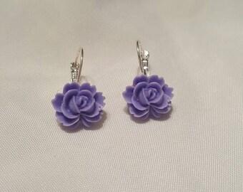 Lavender Purple Rose Earrings Silver Lever Back