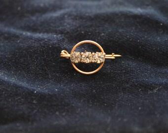 Simple Elegant Rhinestone Circular Brooch Pin Tie Pin
