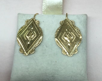 14k handmade Victorian earring with nouveau design
