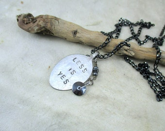 hand stamped teaspoon necklace , Stamped teaspoon Necklace, vintage teaspoon pendant, Quote necklace, necklace with hematite