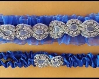 Infinity Royal Blue Wedding Garter,  Rhinestone Bridal Garter,  Organza Garter Set,. Wedding Garter Set W/ Crystal.